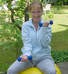 photo: exercising in the garden